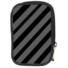 Black and gray lines Compact Camera Cases
