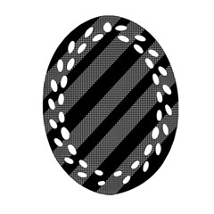 Black and gray lines Oval Filigree Ornament (2-Side)