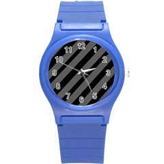 Black and gray lines Round Plastic Sport Watch (S)