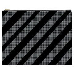 Black and gray lines Cosmetic Bag (XXXL)