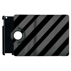 Black and gray lines Apple iPad 2 Flip 360 Case