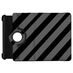 Black and gray lines Kindle Fire HD Flip 360 Case