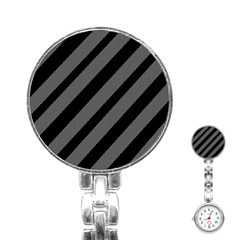 Black and gray lines Stainless Steel Nurses Watch