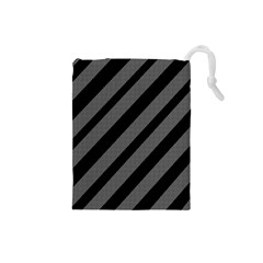 Black and gray lines Drawstring Pouches (Small)