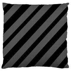 Black and gray lines Large Flano Cushion Case (One Side)