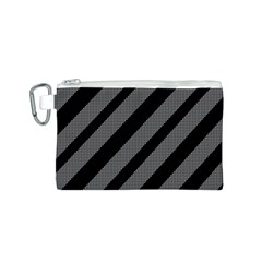 Black and gray lines Canvas Cosmetic Bag (S)