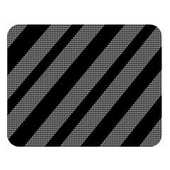 Black and gray lines Double Sided Flano Blanket (Large)