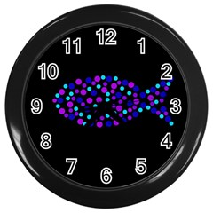 Purple fish Wall Clocks (Black)