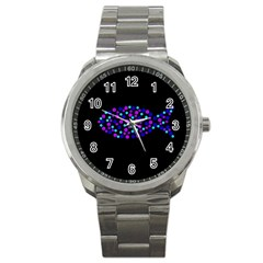 Purple fish Sport Metal Watch
