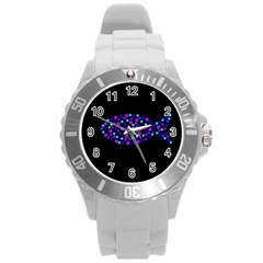 Purple fish Round Plastic Sport Watch (L)
