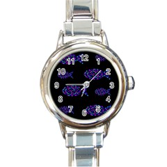 Purple fishes pattern Round Italian Charm Watch