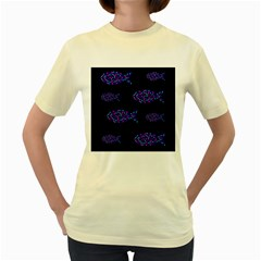 Purple fishes pattern Women s Yellow T-Shirt