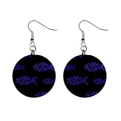 Purple fishes pattern Mini Button Earrings