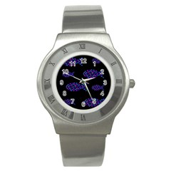 Purple fishes pattern Stainless Steel Watch