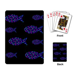 Purple fishes pattern Playing Card