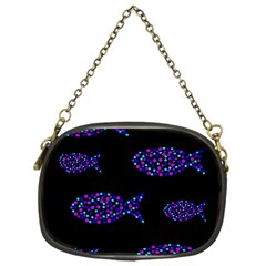 Purple fishes pattern Chain Purses (One Side)