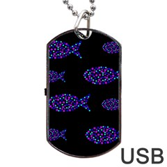 Purple fishes pattern Dog Tag USB Flash (Two Sides)