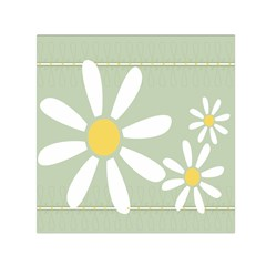 Daisies On Green Small Satin Scarf (Square)