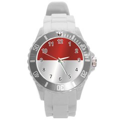 Flag Of Indonesia Round Plastic Sport Watch (L)