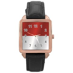 Flag Of Indonesia Rose Gold Leather Watch
