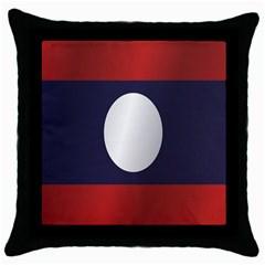 Flag Of Laos Throw Pillow Case (Black)