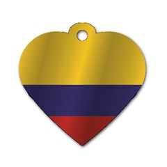Flag Of Colombia Dog Tag Heart (One Side)