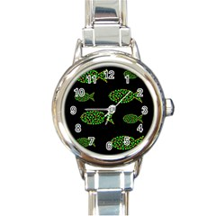Green fishes pattern Round Italian Charm Watch