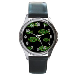Green Fishes Pattern Round Metal Watch