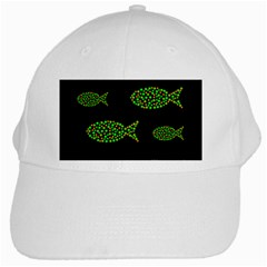 Green fishes pattern White Cap