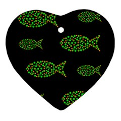 Green fishes pattern Ornament (Heart)