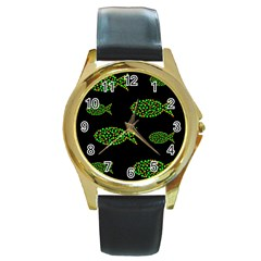 Green fishes pattern Round Gold Metal Watch