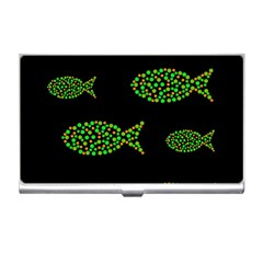 Green fishes pattern Business Card Holders
