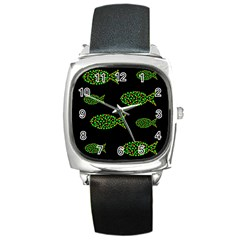 Green fishes pattern Square Metal Watch