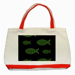 Green fishes pattern Classic Tote Bag (Red)