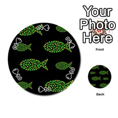 Green fishes pattern Playing Cards 54 (Round)
