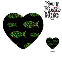 Green fishes pattern Multi-purpose Cards (Heart)
