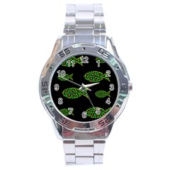 Green fishes pattern Stainless Steel Analogue Watch