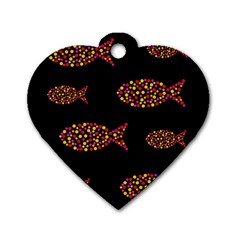 Orange Fishes Pattern Dog Tag Heart (two Sides)