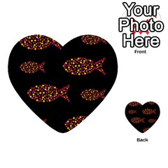 Orange fishes pattern Multi-purpose Cards (Heart)