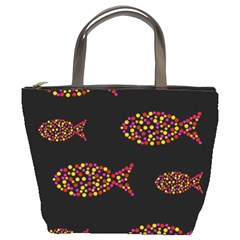 Orange fishes pattern Bucket Bags