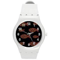 Orange fishes pattern Round Plastic Sport Watch (M)