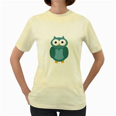 Cute blue owl Women s Yellow T-Shirt