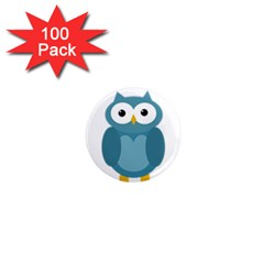 Cute blue owl 1  Mini Magnets (100 pack)