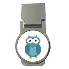 Cute blue owl Money Clips (Round)
