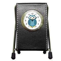 Cute blue owl Pen Holder Desk Clocks