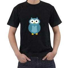 Cute blue owl Men s T-Shirt (Black) (Two Sided)
