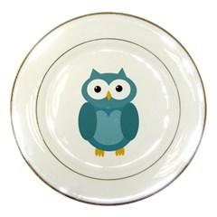 Cute blue owl Porcelain Plates