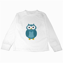 Cute blue owl Kids Long Sleeve T-Shirts