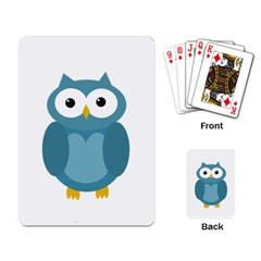Cute blue owl Playing Card