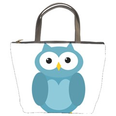 Cute blue owl Bucket Bags